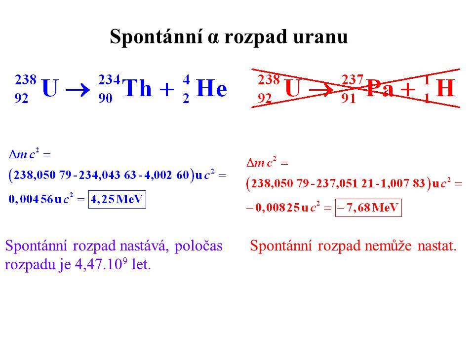 Spontánní α rozpad uranu Spontánní rozpad nastává, poločas rozpadu je 4,47.10 9 let.