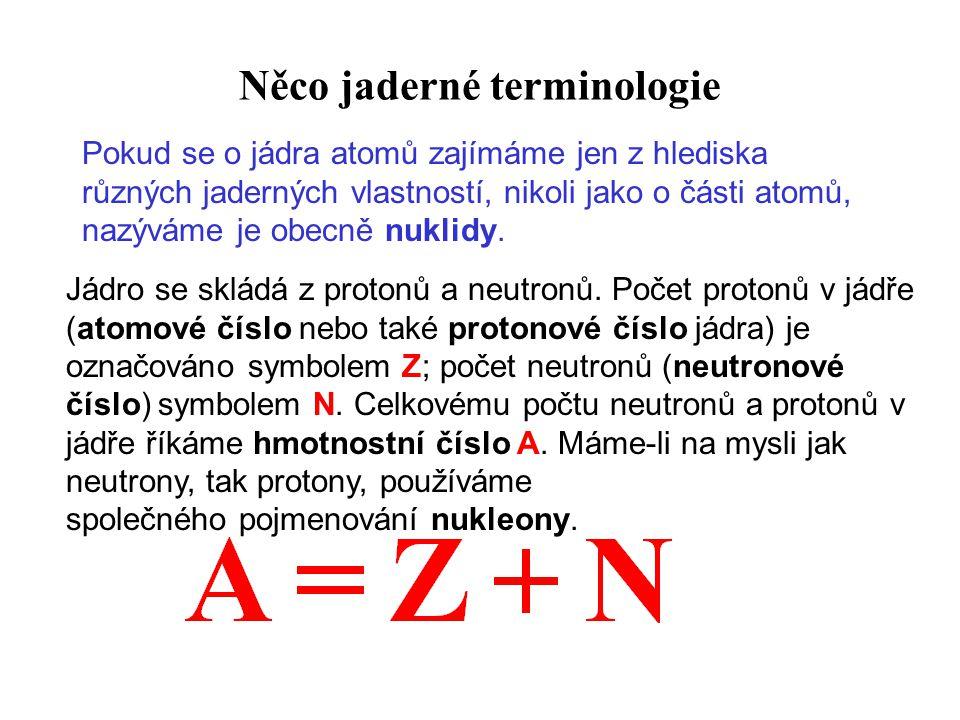 Něco jaderné terminologie Jádro se skládá z protonů a neutronů.