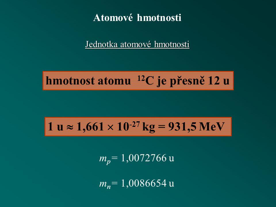 Atomové hmotnosti Hmotnostní spektrometr filtr rychlostí Separace isotopů