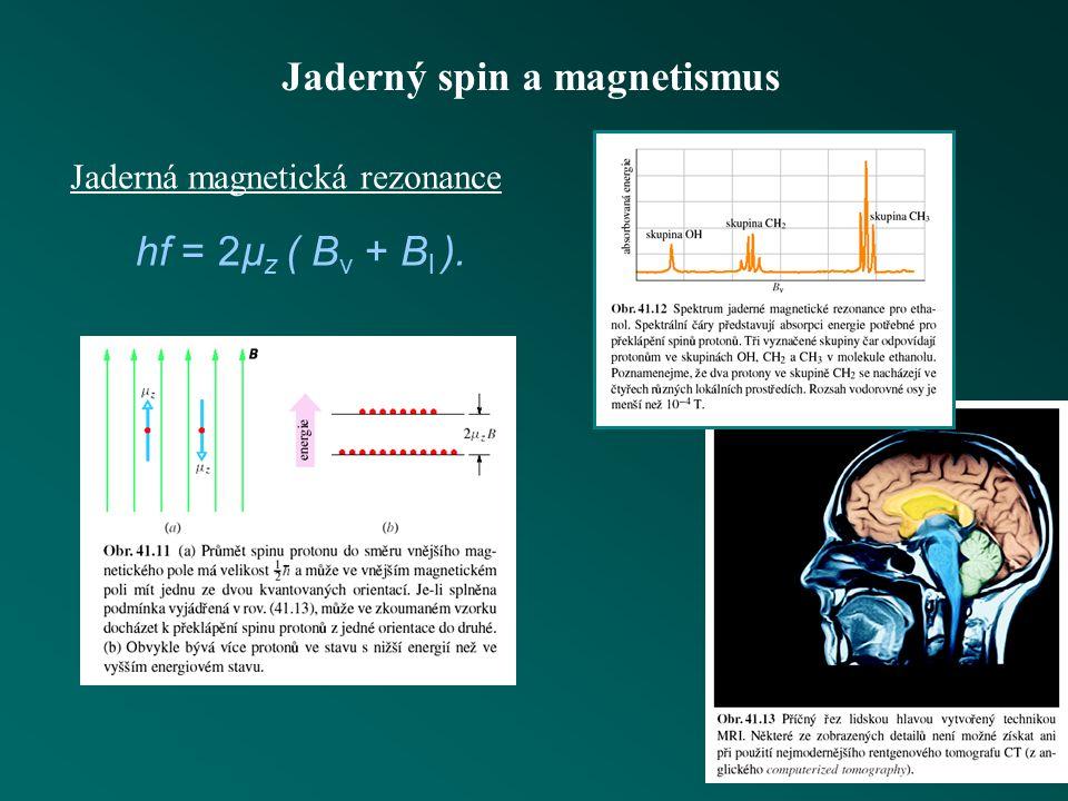 Jaderný spin a magnetismus velikost spinu prostorové kvantování spinu magnetický moment jádra