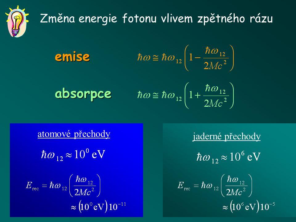 Detailní pohled na emisi a absorpci záření (i) (f) A * (E 1 )A (E 2 ) , k v Zákon zachování energie hybnosti