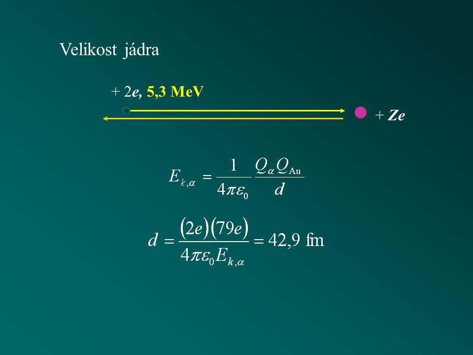 + 2e, 5,3 MeV Velikost jádra + Ze