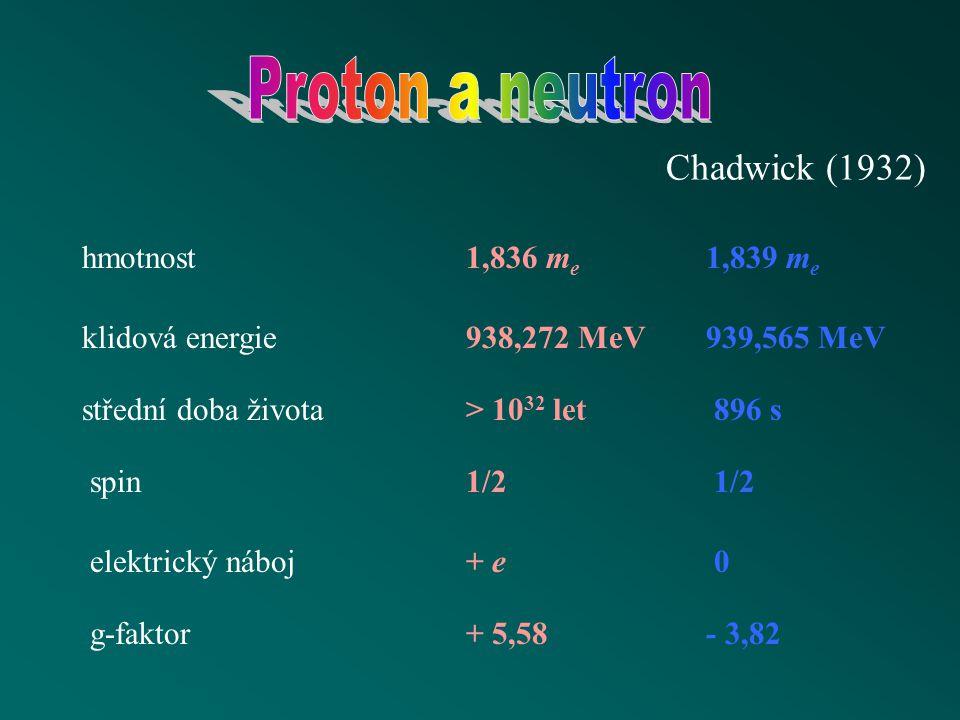 Chadwick (1932) hmotnost klidová energie střední doba života spin elektrický náboj g-faktor 1,836 m e 1,839 m e 938,272 MeV939,565 MeV > 10 32 let896 s 1/2 + e0 + 5,58- 3,82