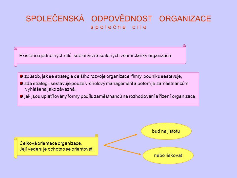 SPOLEČENSKÁ ODPOVĚDNOST ORGANIZACE s p o l e č n é c í l e Existence jednotných cílů, sdělených a sdílených všemi články organizace: způsob, jak se st