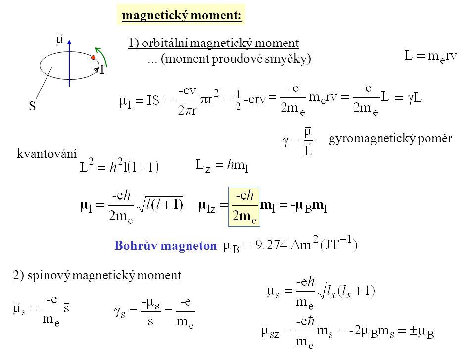 magnetický moment: 1) orbitální magnetický moment...