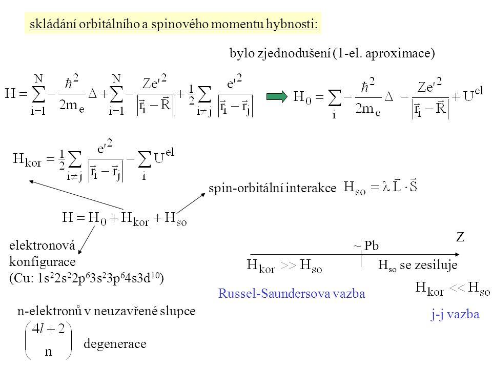 skládání orbitálního a spinového momentu hybnosti: bylo zjednodušení (1-el. aproximace) elektronová konfigurace (Cu: 1s 2 2s 2 2p 6 3s 2 3p 6 4s3d 10