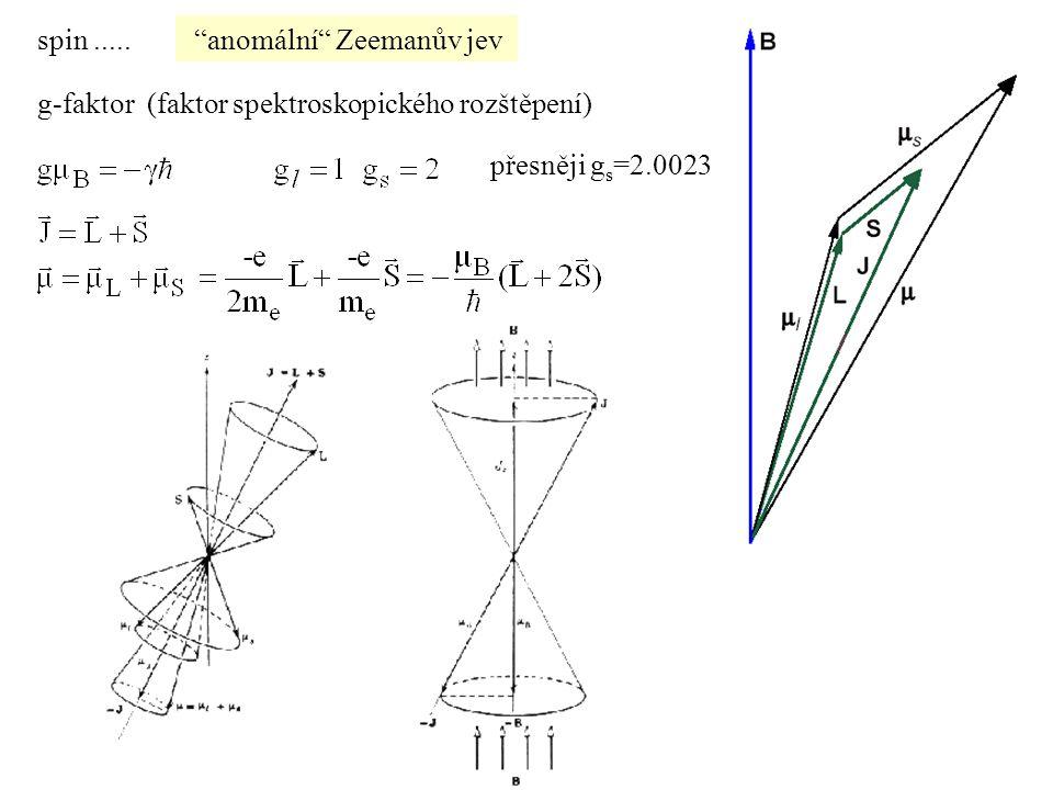 anomální Zeemanův jev g-faktor (faktor spektroskopického rozštěpení) přesněji g s =2.0023 spin.....