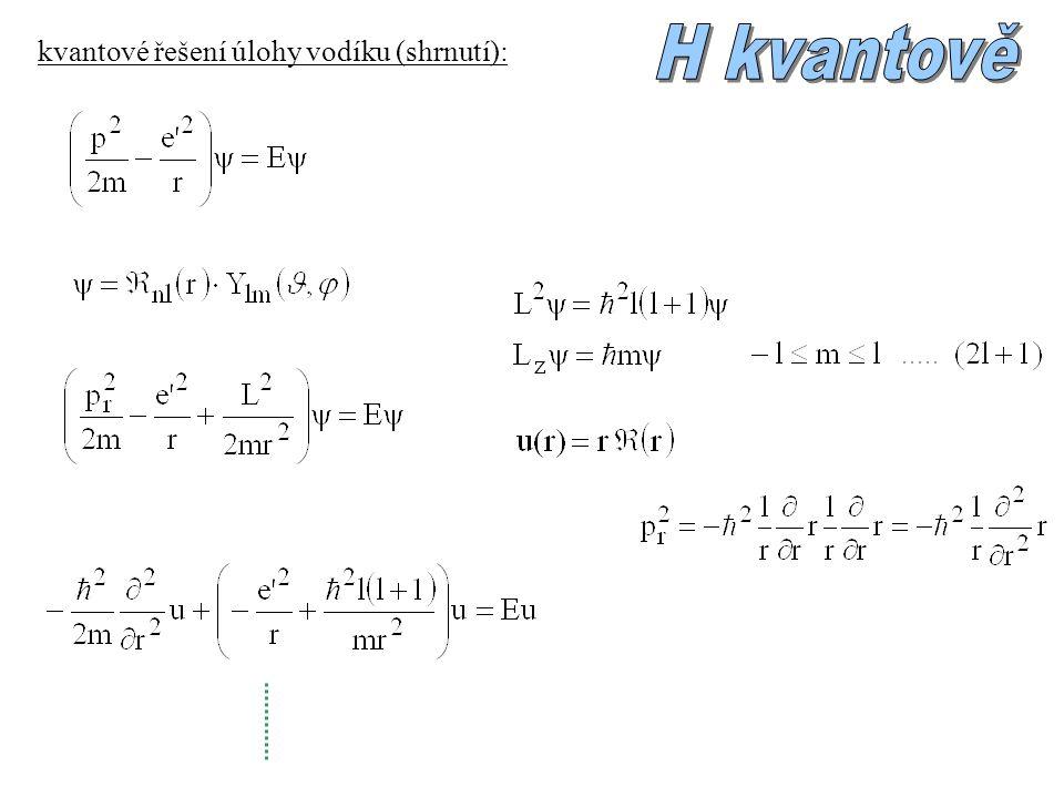pro dané n: náhodná degenerace energie: shoda s Bohrovým modelem orbitály:...