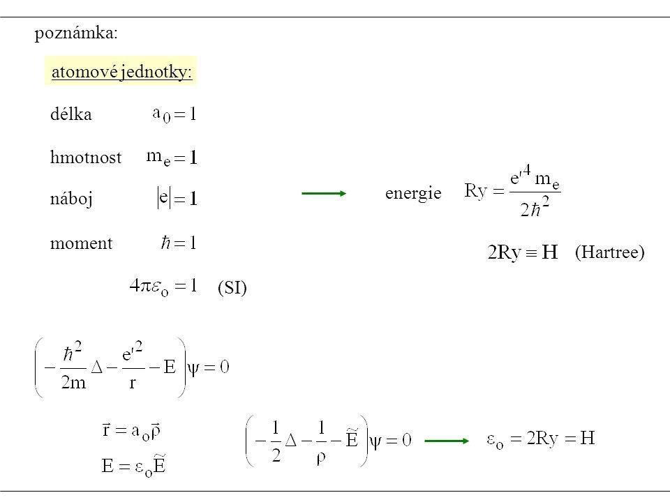 atomové jednotky: délka hmotnost náboj moment (SI) energie (Hartree) poznámka: