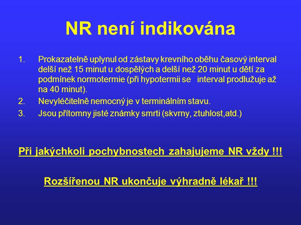 NR není indikována 1.Prokazatelně uplynul od zástavy krevního oběhu časový interval delší než 15 minut u dospělých a delší než 20 minut u dětí za podm