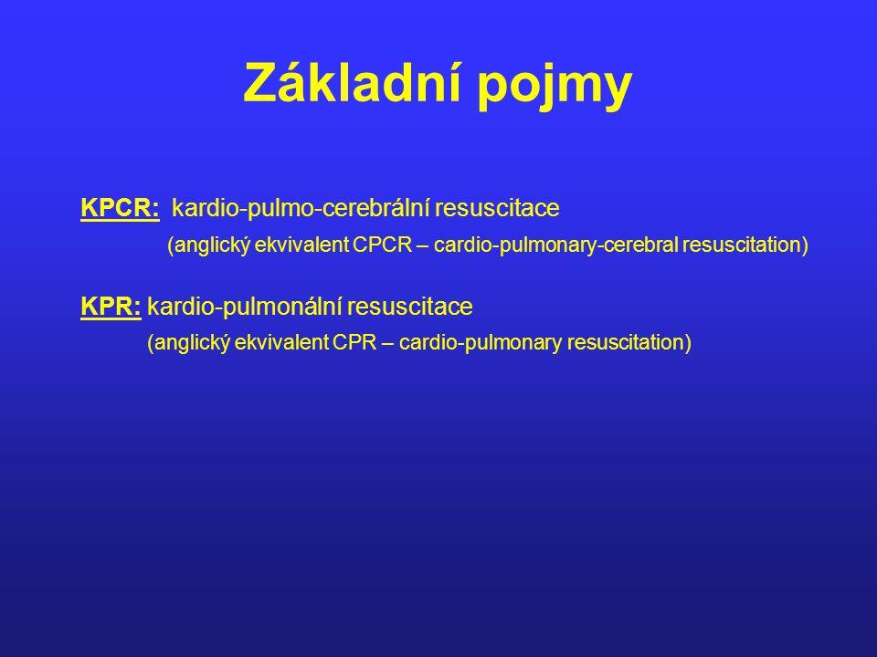 Základní pojmy KPCR: kardio-pulmo-cerebrální resuscitace (anglický ekvivalent CPCR – cardio-pulmonary-cerebral resuscitation) KPR: kardio-pulmonální r