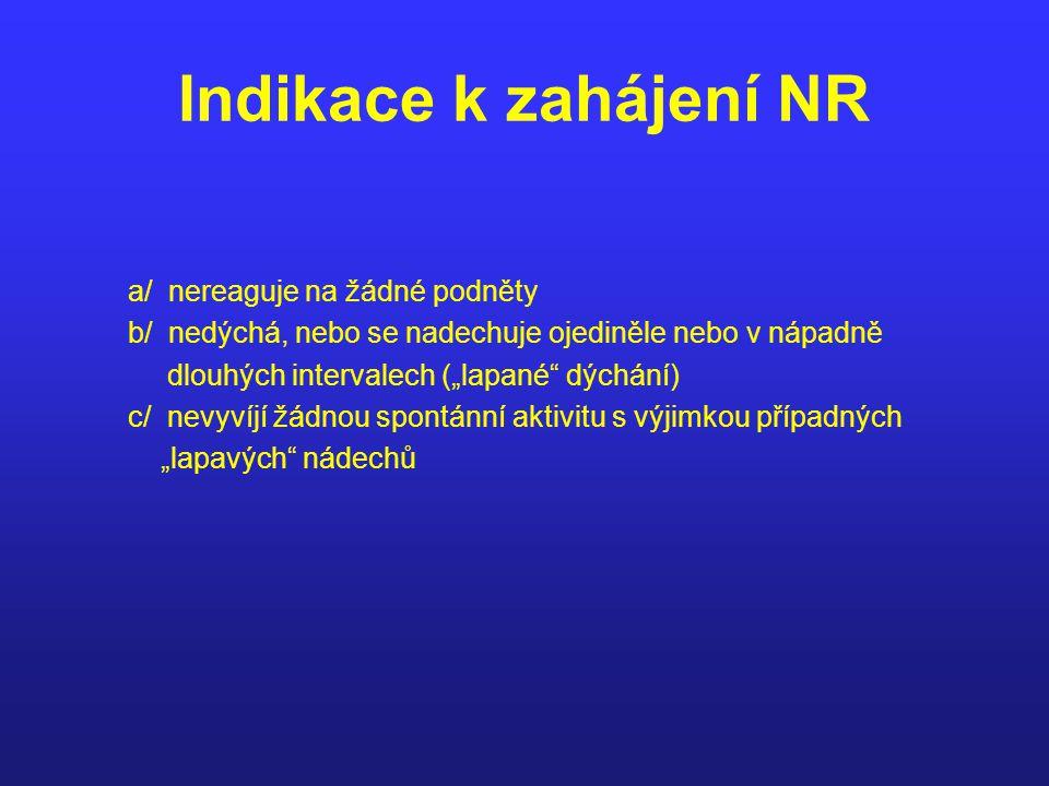 """Indikace k zahájení NR a/ nereaguje na žádné podněty b/ nedýchá, nebo se nadechuje ojediněle nebo v nápadně dlouhých intervalech (""""lapané"""" dýchání) c/"""