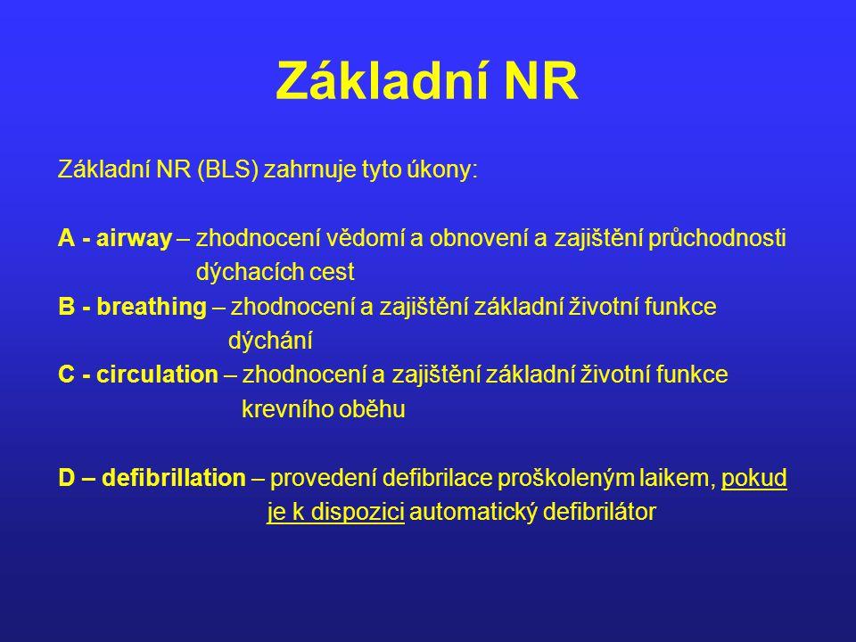 Základní NR Základní NR (BLS) zahrnuje tyto úkony: A - airway – zhodnocení vědomí a obnovení a zajištění průchodnosti dýchacích cest B - breathing – z