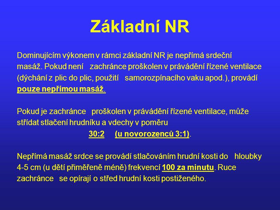Základní NR Dominujícím výkonem v rámci základní NR je nepřímá srdeční masáž. Pokud není zachránce proškolen v právádění řízené ventilace (dýchání z p