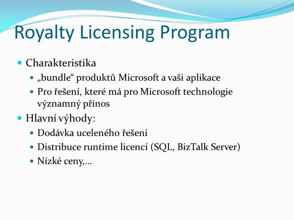 """Royalty Licensing Program Charakteristika """"bundle produktů Microsoft a vaši aplikace Pro řešení, které má pro Microsoft technologie významný přínos Hlavní výhody: Dodávka uceleného řešení Distribuce runtime licencí (SQL, BizTalk Server) Nízké ceny,…"""