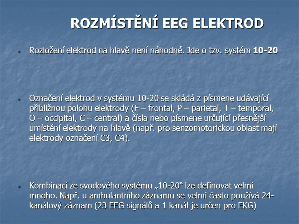 ROZMÍSTĚNÍ EEG ELEKTROD ROZMÍSTĚNÍ EEG ELEKTROD Rozložení elektrod na hlavě není náhodné. Jde o tzv. systém 10-20 Rozložení elektrod na hlavě není náh