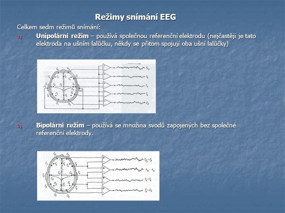 Režimy snímání EEG Režimy snímání EEG Celkem sedm režimů snímání: 1) Unipolární režim – používá společnou referenční elektrodu (nejčastěji je tato ele