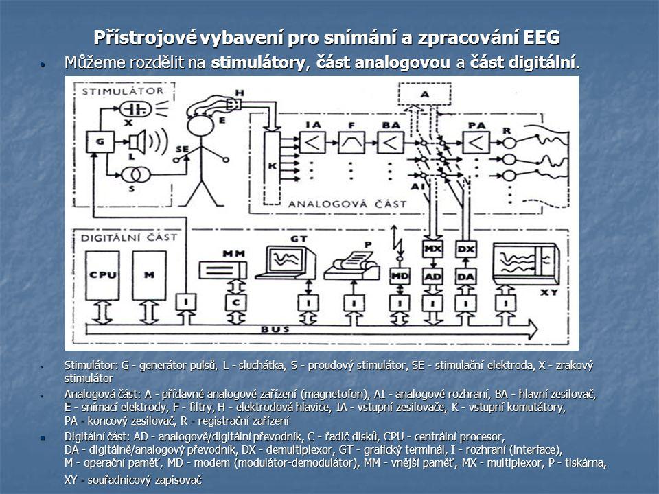 Přístrojové vybavení pro snímání a zpracování EEG Přístrojové vybavení pro snímání a zpracování EEG Můžeme rozdělit na stimulátory, část analogovou a