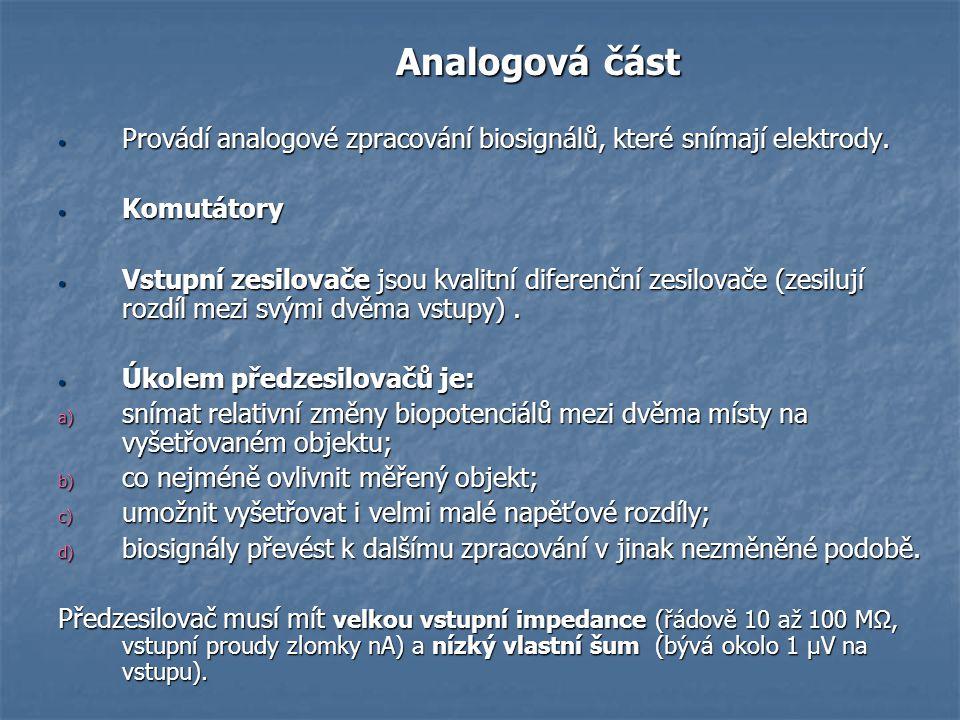 Analogová část Analogová část Provádí analogové zpracování biosignálů, které snímají elektrody. Provádí analogové zpracování biosignálů, které snímají