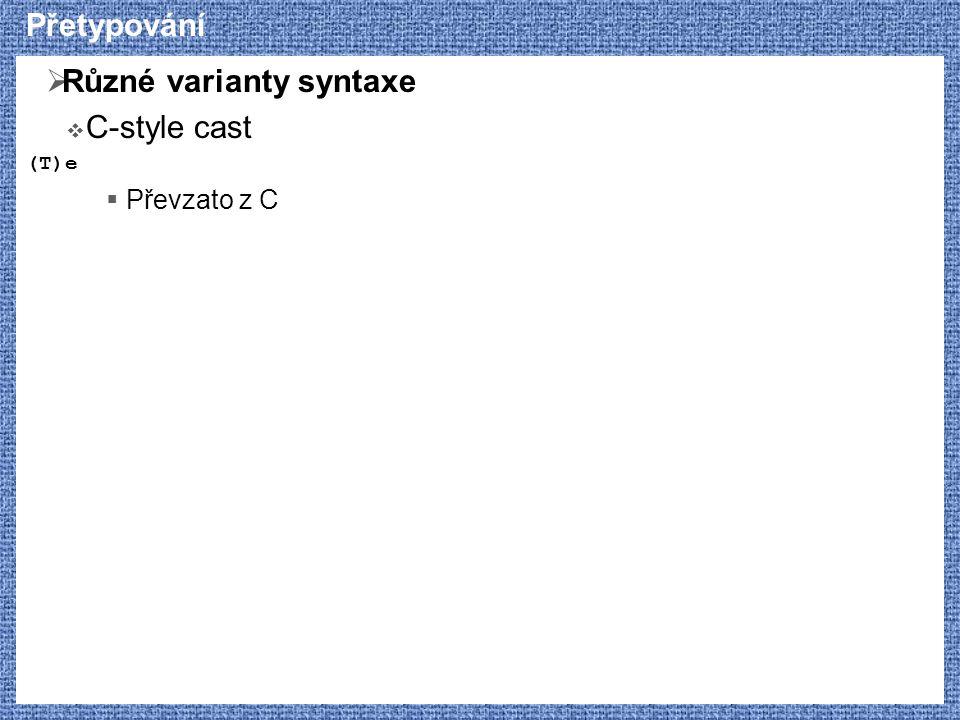 Přetypování  Různé varianty syntaxe  C-style cast (T)e  Převzato z C