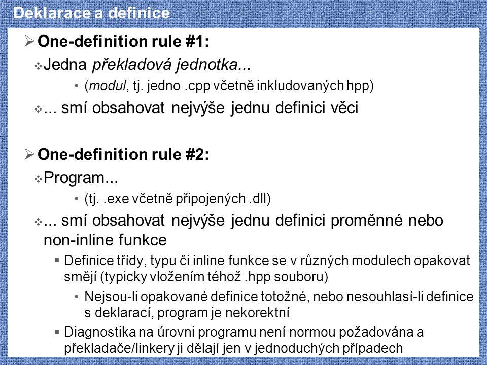 Deklarace a definice  One-definition rule #1:  Jedna překladová jednotka... (modul, tj. jedno.cpp včetně inkludovaných hpp) ... smí obsahovat nejvý