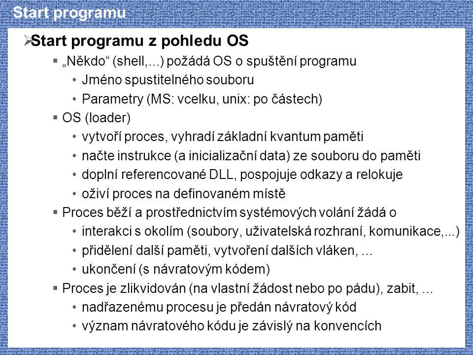 """Start programu  Start programu z pohledu OS  """"Někdo"""" (shell,...) požádá OS o spuštění programu Jméno spustitelného souboru Parametry (MS: vcelku, un"""