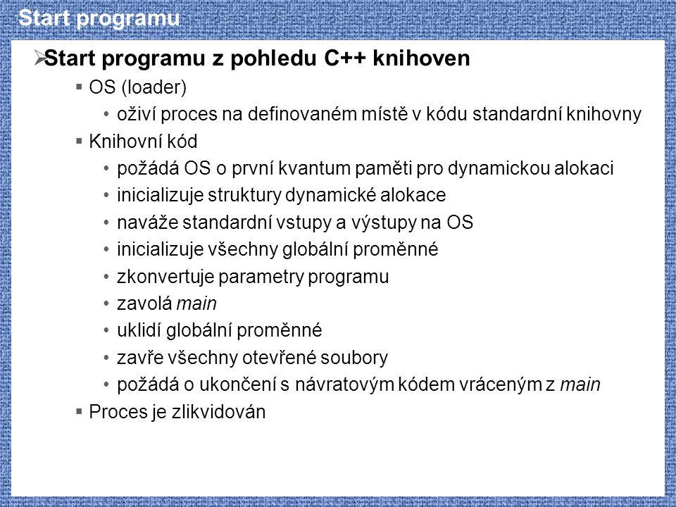Start programu  Start programu z pohledu C++ knihoven  OS (loader) oživí proces na definovaném místě v kódu standardní knihovny  Knihovní kód požád