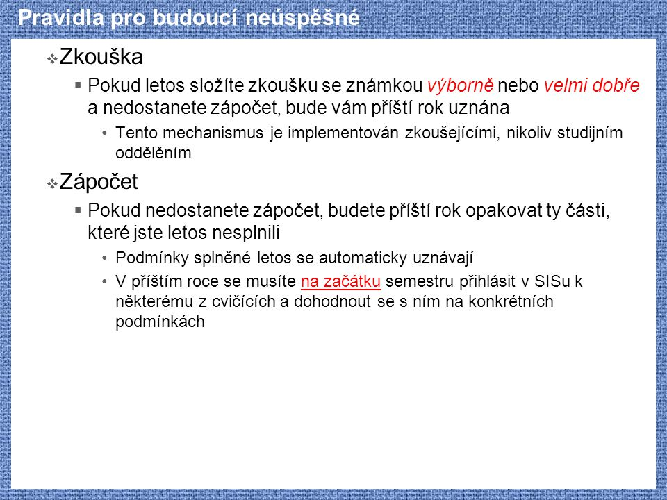 Přetypování dynamic_cast (e)  Umožňuje  Konverze odkazu na odvozenou třídu na odkaz na předka: Derived & => Base & Derived * => Base *  Implicitní konverze, chová se stejně jako static_cast  Konverze odkazu na předka na odkaz na odvozenou třídu Base & => Derived & Base * => Derived *  Podmínka: Base musí obsahovat alespoň jednu virtuální funkci  Pokud konvertovaný odkaz neodkazuje na objekt typu Derived nebo z něj odvozený, je chování definováno takto: Konverze ukazatelů vrací nulový ukazatel Konverze referencí vyvolává výjimku std::bad_cast  Umožňuje přetypování i v případě virtuální dědičnosti