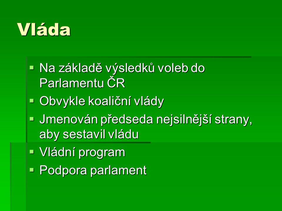 Vláda  Na základě výsledků voleb do Parlamentu ČR  Obvykle koaliční vlády  Jmenován předseda nejsilnější strany, aby sestavil vládu  Vládní progra