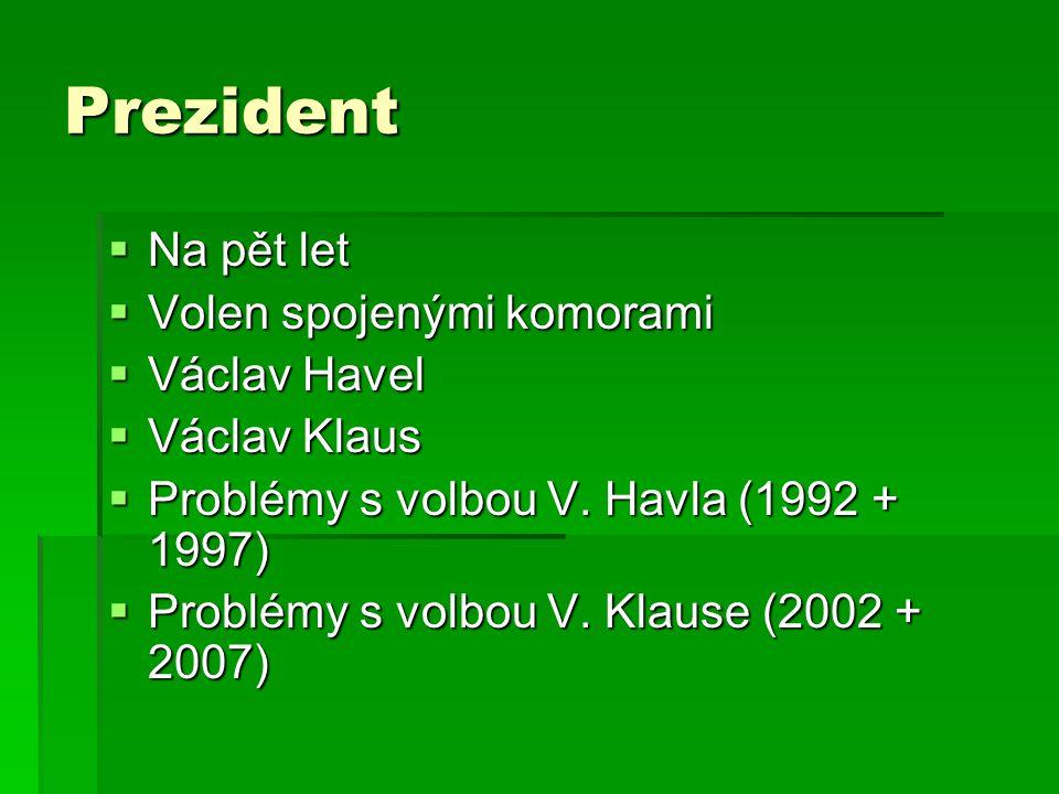 Prezident  Na pět let  Volen spojenými komorami  Václav Havel  Václav Klaus  Problémy s volbou V. Havla (1992 + 1997)  Problémy s volbou V. Klau