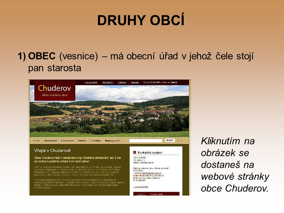 DRUHY OBCÍ 1)OBEC (vesnice) – má obecní úřad v jehož čele stojí pan starosta Kliknutím na obrázek se dostaneš na webové stránky obce Chuderov.