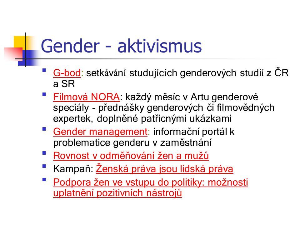 Gender - aktivismus G-bod: setk á v á n í studuj í c í ch genderových studi í z ČR a SRG-bod Filmová NORA: každý měsíc v Artu genderové speciály - pře