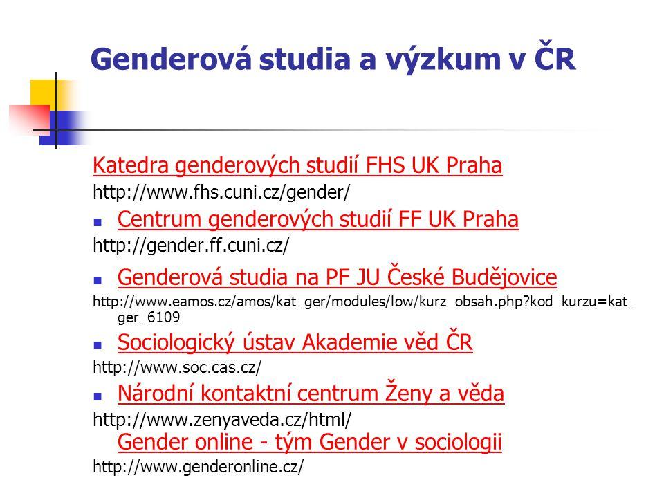 Genderová studia a výzkum v ČR Katedra genderových studií FHS UK Praha http://www.fhs.cuni.cz/gender/ Centrum genderových studií FF UK Praha http://ge