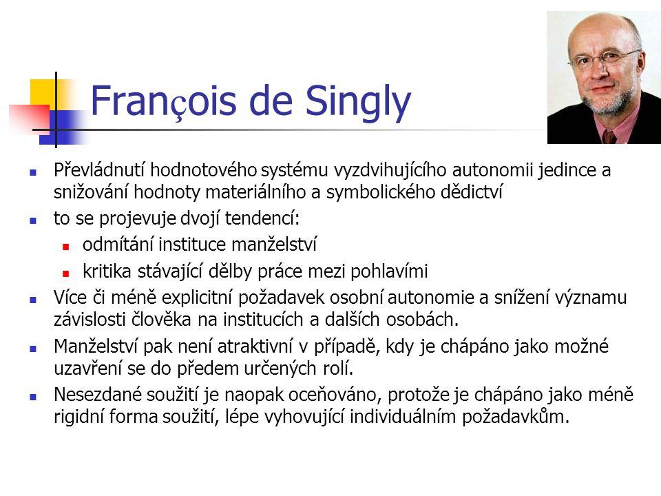 Fran ç ois de Singly Převládnutí hodnotového systému vyzdvihujícího autonomii jedince a snižování hodnoty materiálního a symbolického dědictví to se p