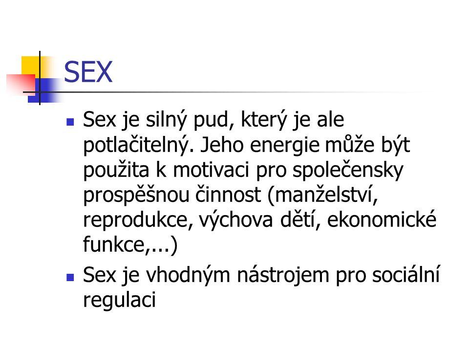 SEX Sex je silný pud, který je ale potlačitelný. Jeho energie může být použita k motivaci pro společensky prospěšnou činnost (manželství, reprodukce,