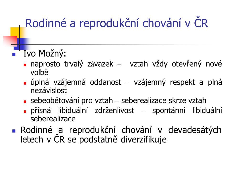 Rodinné a reprodukční chování v ČR Ivo Možný: naprosto trvalý z á vazek – vztah vždy otevřený nové volbě úplná vzájemná oddanost – vzájemný respekt a