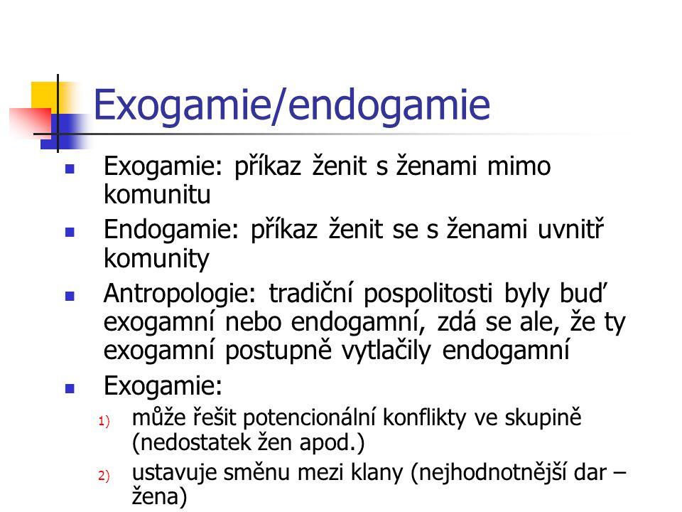 Exogamie/endogamie Exogamie: příkaz ženit s ženami mimo komunitu Endogamie: příkaz ženit se s ženami uvnitř komunity Antropologie: tradiční pospolitos