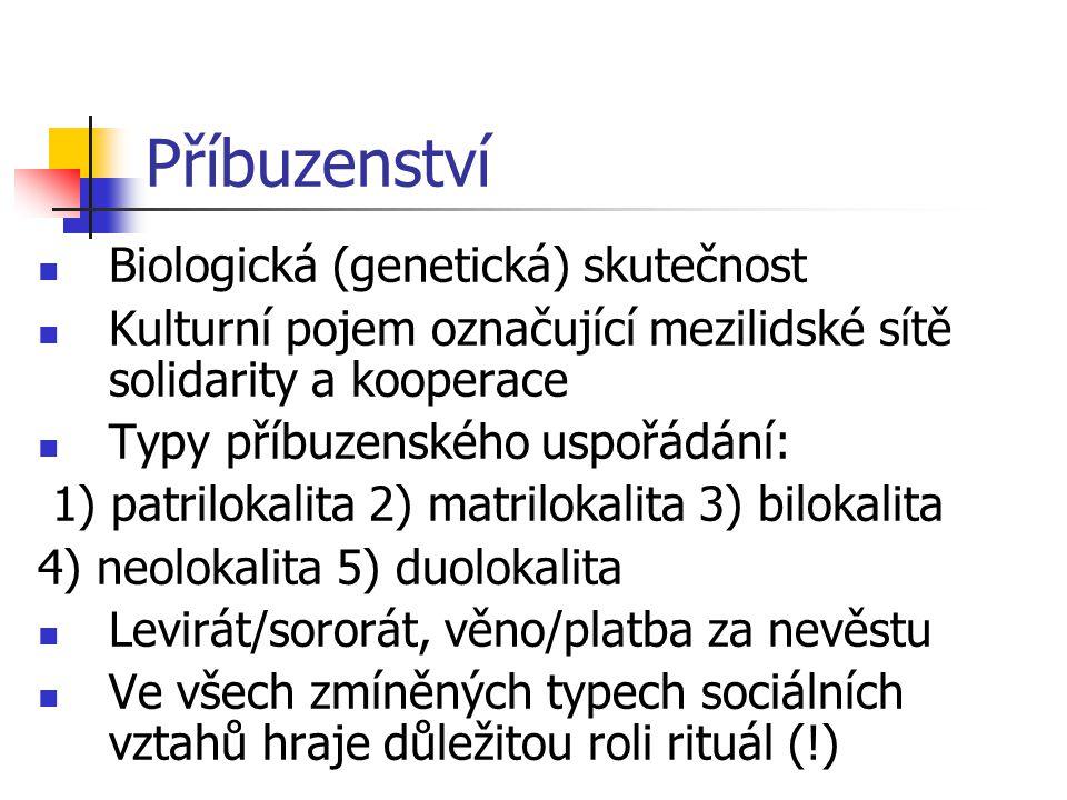 Příbuzenství Biologická (genetická) skutečnost Kulturní pojem označující mezilidské sítě solidarity a kooperace Typy příbuzenského uspořádání: 1) patr