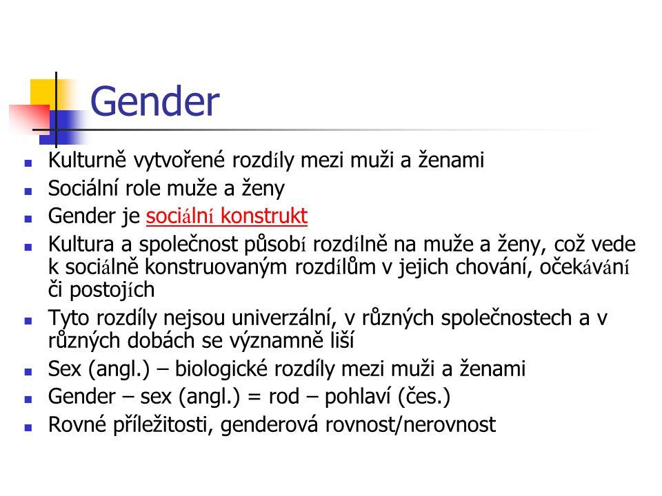 Gender Kulturně vytvořené rozd í ly mezi muži a ženami Sociální role muže a ženy Gender je soci á ln í konstruktsoci á ln í konstrukt Kultura a společ