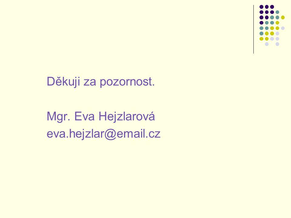 Děkuji za pozornost. Mgr. Eva Hejzlarová eva.hejzlar@email.cz