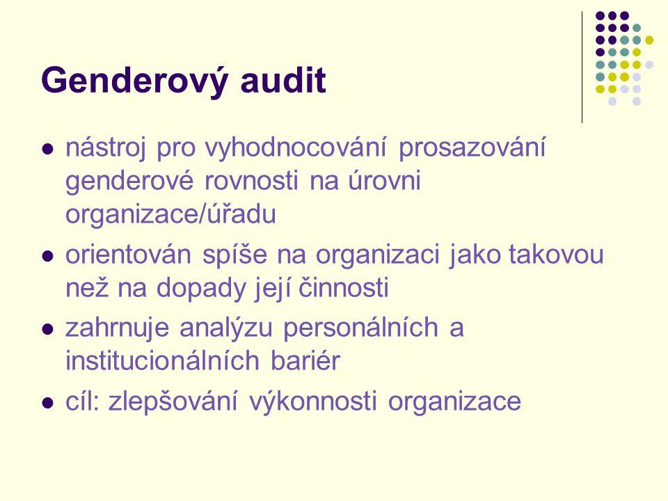 Genderový audit nástroj pro vyhodnocování prosazování genderové rovnosti na úrovni organizace/úřadu orientován spíše na organizaci jako takovou než na