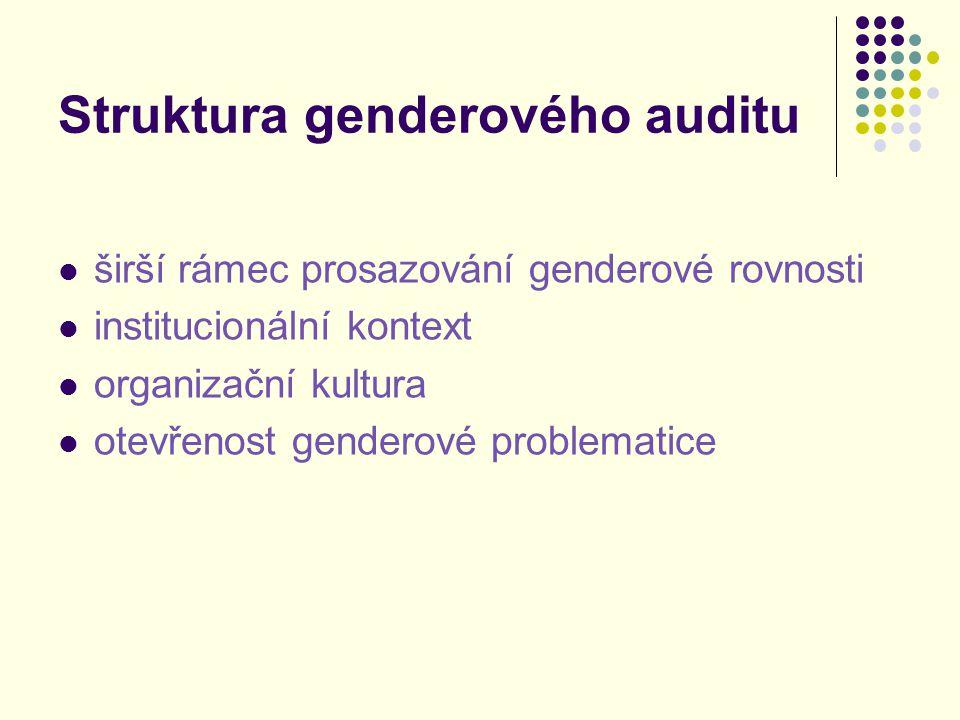 Proces genderového auditu přípravná fáze prováděcí fáze vstupní analýza dokumentů a statistik rozhovory a analýza dalších dokumentů závěrečná fáze