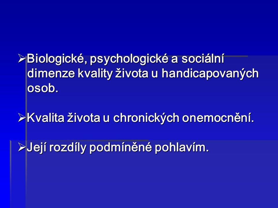  Biologické, psychologické a sociální dimenze kvality života u handicapovaných dimenze kvality života u handicapovaných osob. osob.  Kvalita života