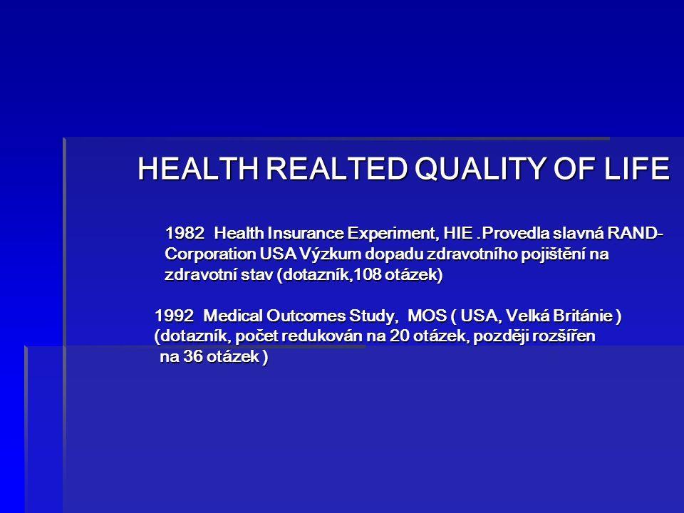 HEALTH REALTED QUALITY OF LIFE 1982 Health Insurance Experiment, HIE.Provedla slavná RAND- Corporation USA Výzkum dopadu zdravotního pojištění na zdra