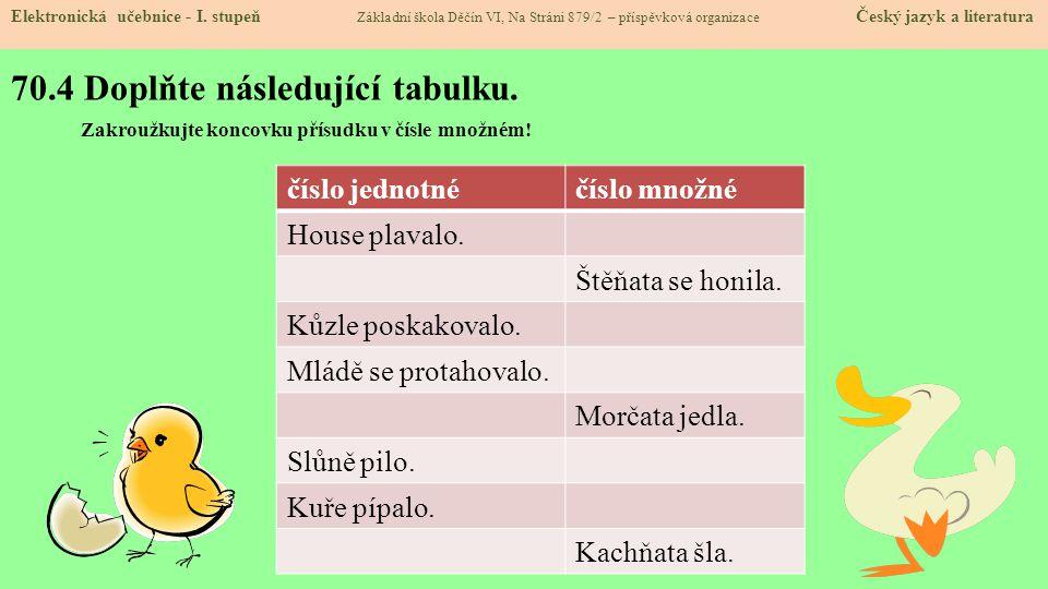 70.4 Doplňte následující tabulku. Elektronická učebnice - I. stupeň Základní škola Děčín VI, Na Stráni 879/2 – příspěvková organizace Český jazyk a li