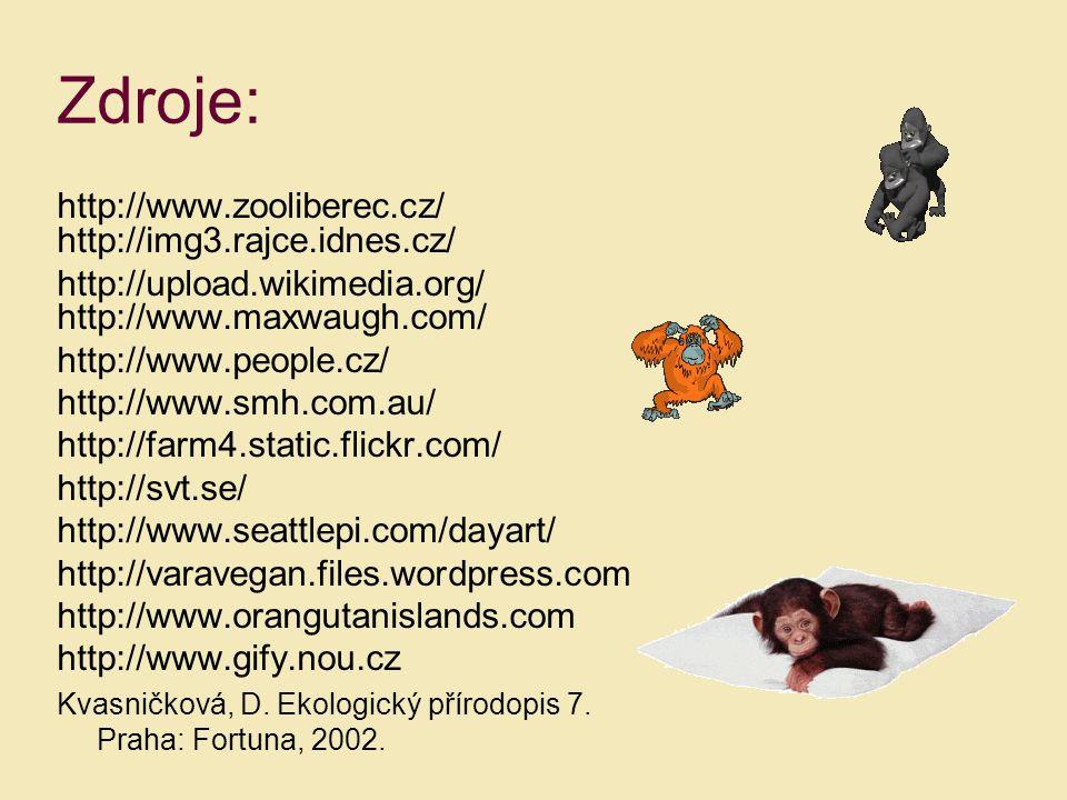 Zdroje: http://www.zooliberec.cz/ http://img3.rajce.idnes.cz/ http://upload.wikimedia.org/ http://www.maxwaugh.com/ http://www.people.cz/ http://www.s