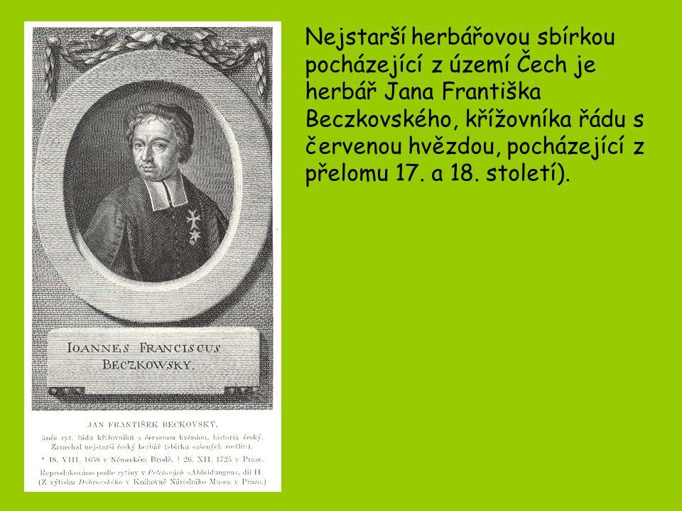Pro rozvoj herbářů v 19.století měly zásadní význam: 1.