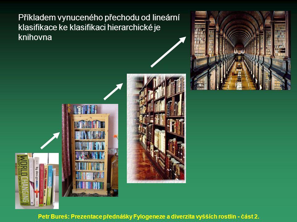Petr Bureš: Prezentace přednášky Fylogeneze a diverzita vyšších rostlin - část 2. Příkladem vynuceného přechodu od lineární klasifikace ke klasifikaci