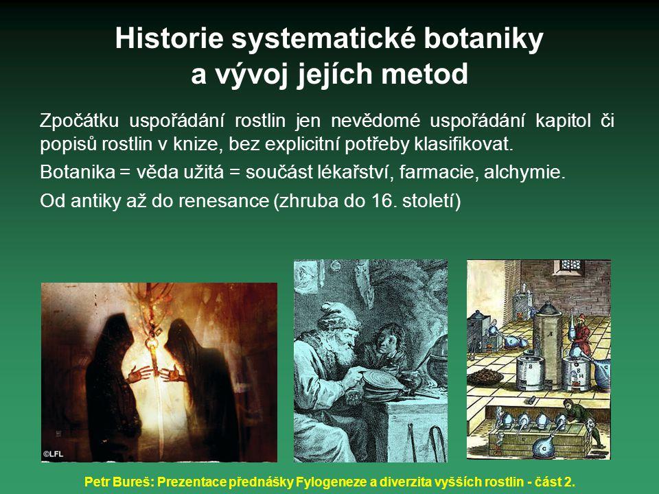 Petr Bureš: Prezentace přednášky Fylogeneze a diverzita vyšších rostlin - část 2. Historie systematické botaniky a vývoj jejích metod Zpočátku uspořád