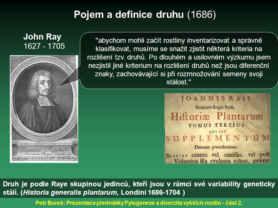 Petr Bureš: Prezentace přednášky Fylogeneze a diverzita vyšších rostlin - část 2. Pojem a definice druhu (1686) John Ray 1627 - 1705 Druh je podle Ray